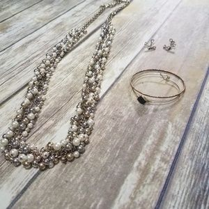 Zara Goldtone Silver Faux Pearl Long Necklace
